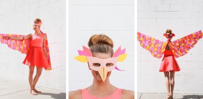 comment fabriquer un déguisement facile pour halloween, modèle de costume femme avec ailes en carton et papier coloré
