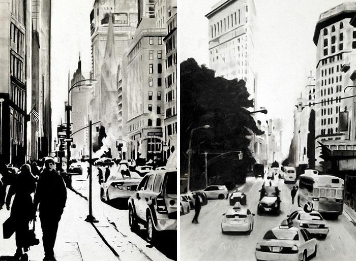 Fusain dessin de new york noir et blanc, methode fusain dessin difficile a reproduire, essayer à créer un paysage de ville copie d'une photo