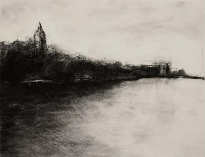 Image de dessin au fusain inspiré par cezanne et monnet, paysage de riviere avec un batiment et quelques arbres, art impressionniste