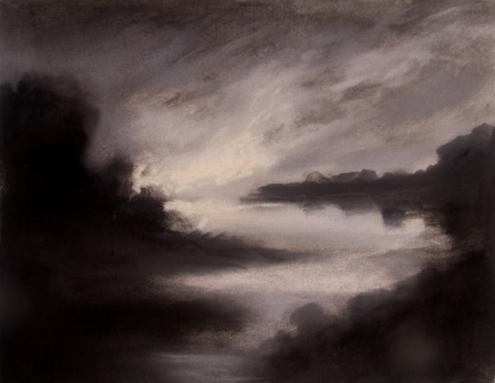 Dessin noir et blanc facile, dessins débutants paysage au fusain, dessin noir et blanc paysage abrstrait impressionniste
