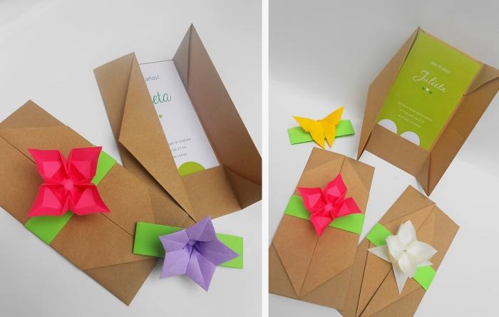 jolie pochette origami asymétrique en papier kraft pour accueillir un faire-part ou une invitation de mariage, décorée avec une fleur en origami