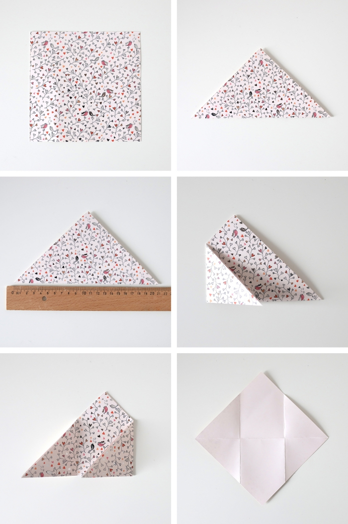 tuto avec explications détaillées en photos pour réaliser une enveloppe en origami carrée spéciale saint-valentin, petite enveloppe avec fermeture coeur en papier origami motif bucolique