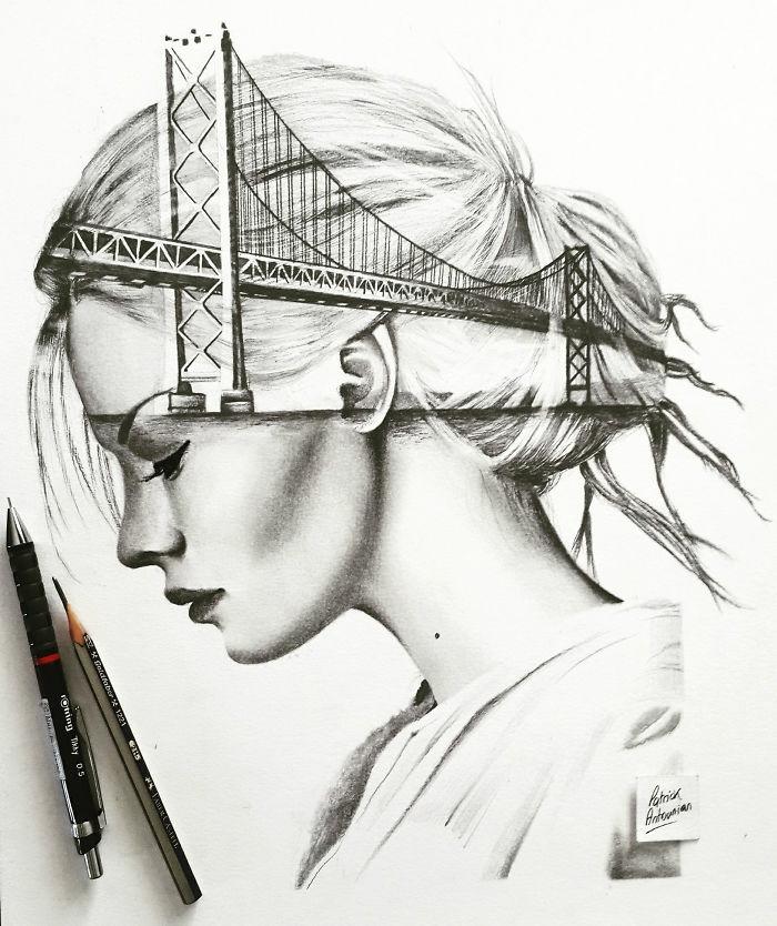 Double exposition dessin de femme et de pont de ville, idée comment faire des dessins au fusain soi meme, art dessins magnifiques