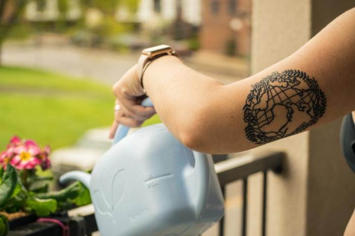 Manchette tatouage ou tatouage jambe femme idées originales, branches symbolisant la paix et un globe avec les continents, tatouage beau