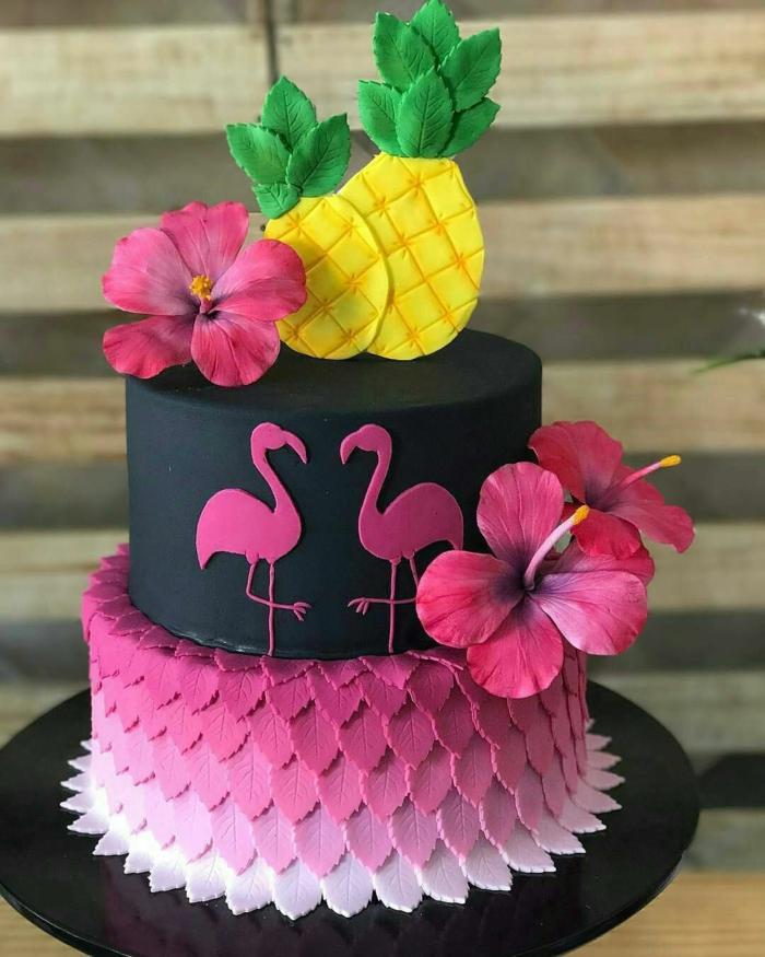 Idée gateau anniversaire simple et beau, gateau anniversaire adulte original flamandes et ananas en pate a sucre