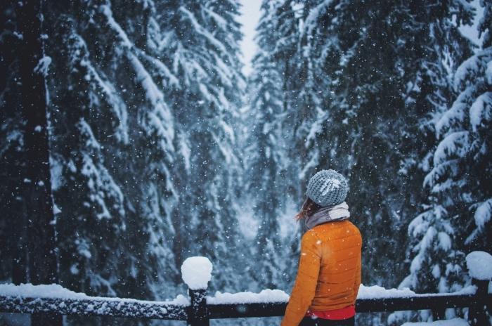 photo de fille habillée en vêtements chauds observant la nature d'hiver dans une forêt enneigée, image flocons de neige sur les arbres conifères