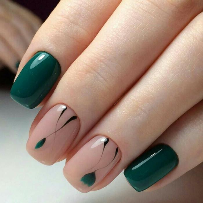 manucure en deux couleurs aux motifs végétaux, forme carré, bords des ongles légèrement arrondis