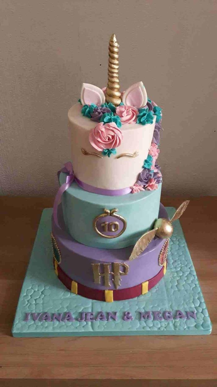 Les plus beaux gateaux, idée gateau anniversaire simple et beau art culinaire, licorne harry potter theme