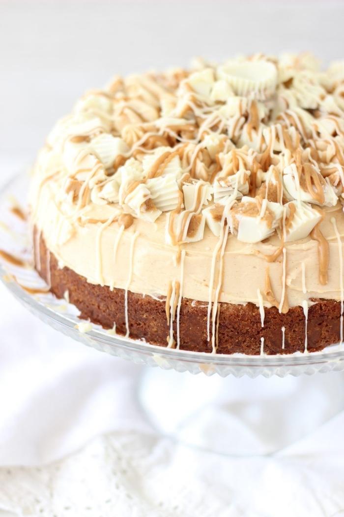gâteau sans cuisson au chocolat blanc et au beurre de cacahuètes, recette cheesecake original