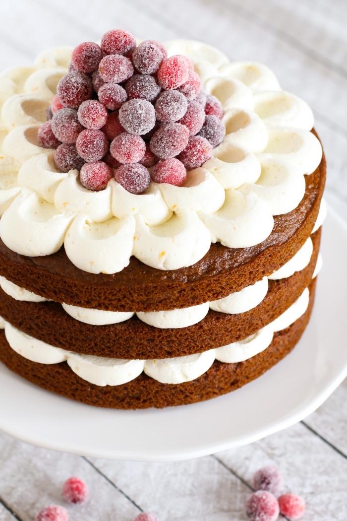 idée pour un dessert de noël vegan, gâteau vegan aux saveurs de pain d'épices avec son glaçage vegan à l'orange décoré de canneberges cristalisées