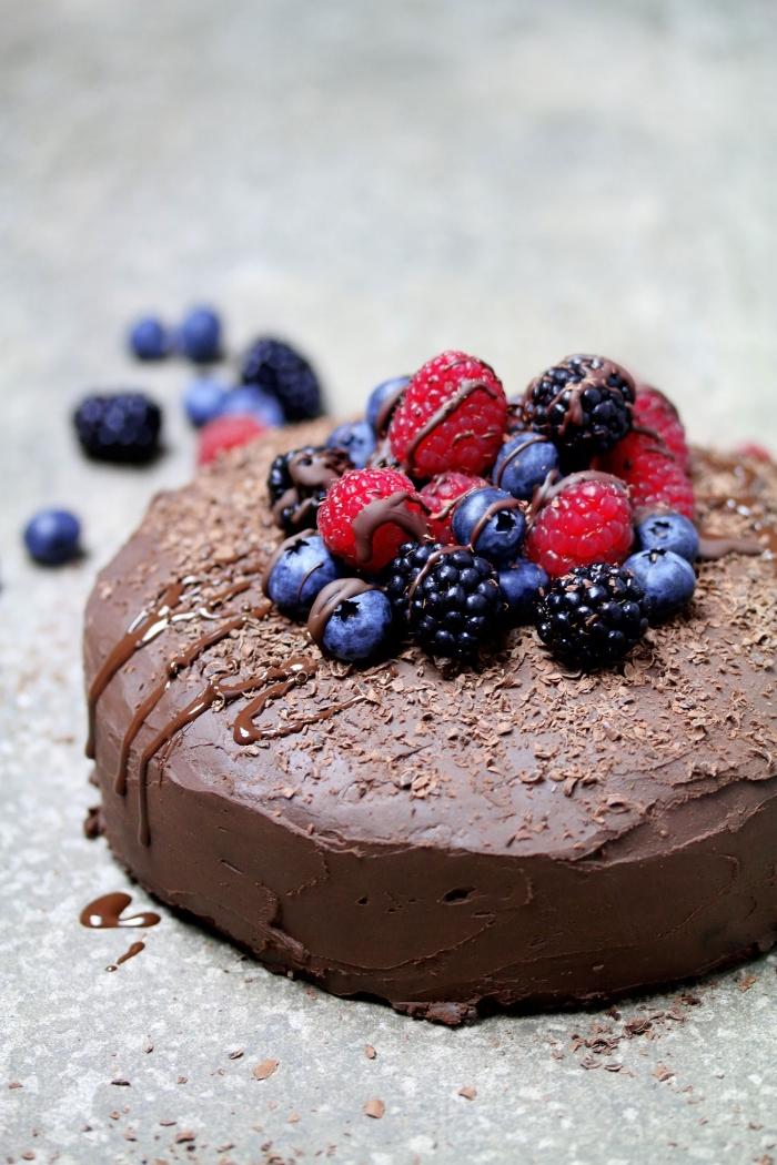recette végétalienne facile de gateau sans gluten sans lactose avec sa ganache aux avocat, huile de coco et cacao