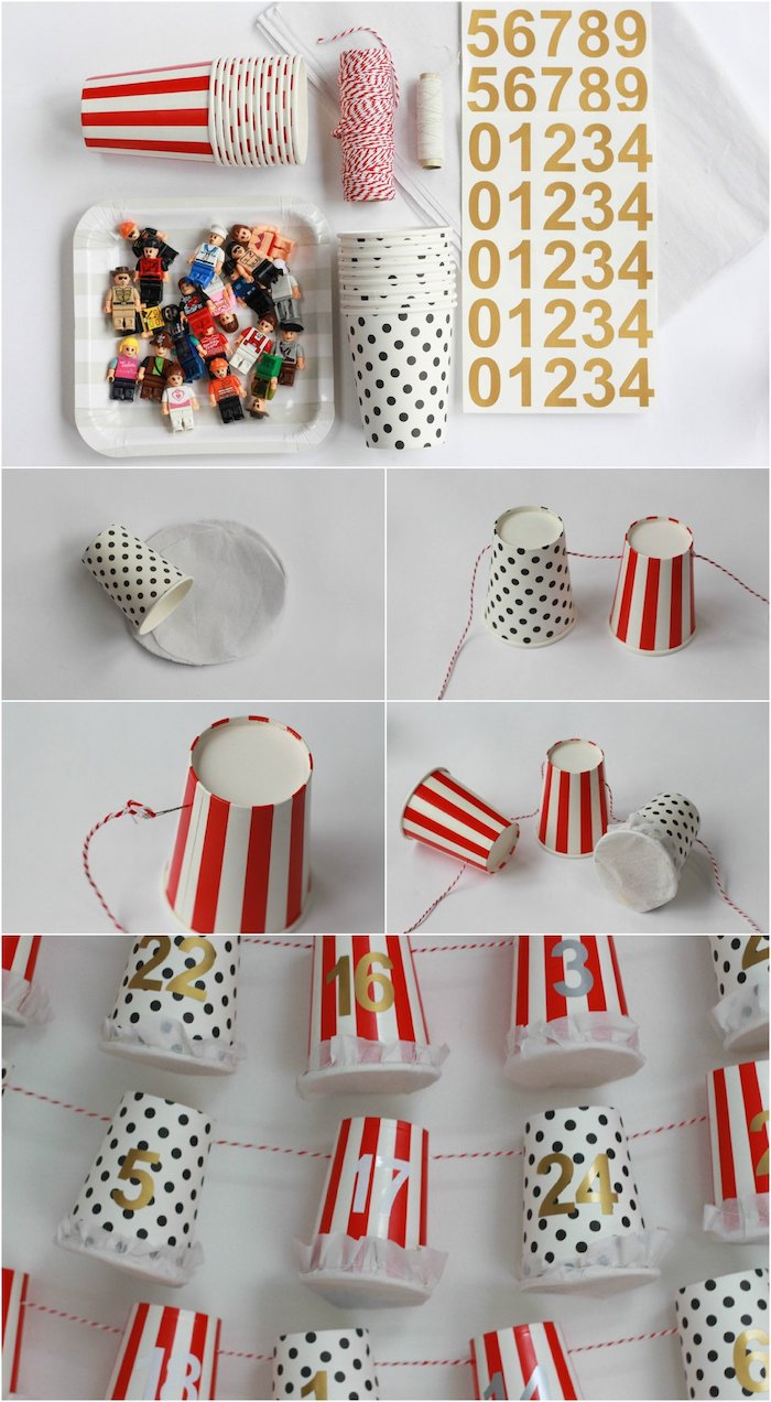 gobelets transformés en calendrier de l avent à fabriquer avec des chiffres autocollants sur un fil blanc et rouge avec des jouets lego