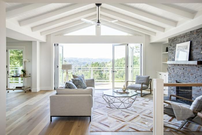 grand salon lumineux, deco maison de campagne cosy, style sobre et épuré en bois et textile
