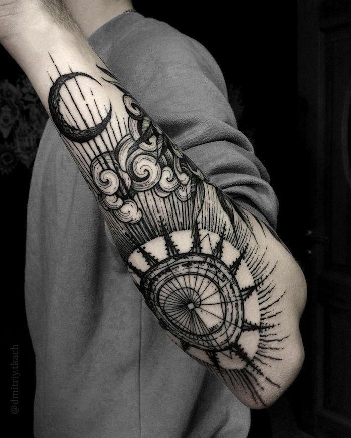Idée tatouage original, tatouage femme poignet, beau dessin à choisir, manche original tatouage geometriques symboles