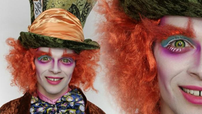 le chapelier fou d'Alice au pays des merveilles, chapeau orange, papillon bariolé, perruque orange
