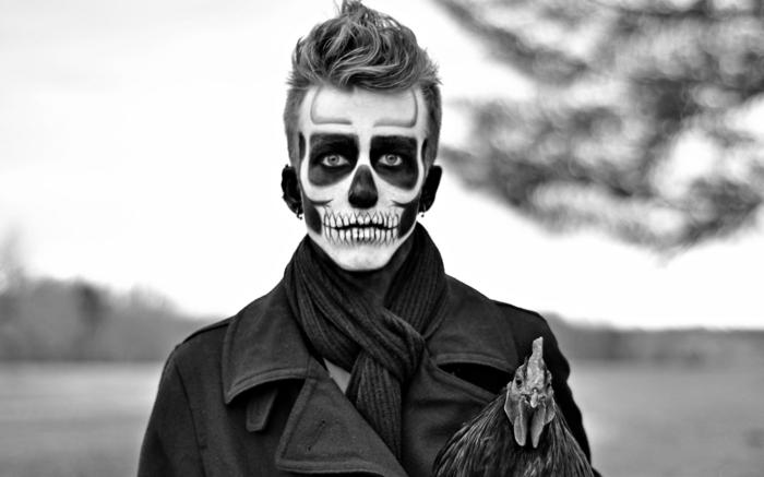Theme nouvel an, soirée déguisée, thematique soiree speciale costume tete de mort maquillage fort