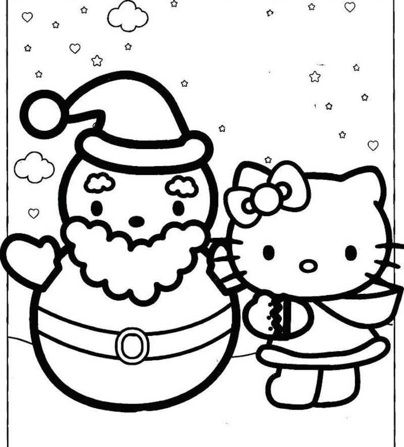 dessin hello kitty et pere noel sous la neige pour coloriage petit enfant 3 ans maternelle