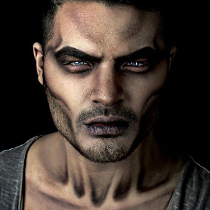 yeux charbonneux, sourcils bien maquillés, contours du visage jolis, maquillage halloween simple