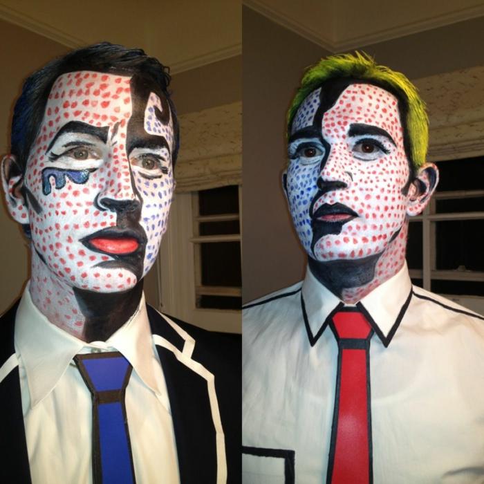 héros pop art, cravate rouge, cravate bleue, pois rouges et contours colorés sur le visage, cheveux peints jaunes