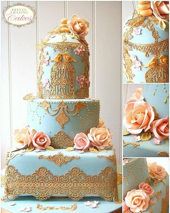 Gateaux anniversaire homme, gateau anniversaire adulte photo pour s'inspirer, decoration fleur creme de beurre et dentelle au chocolat dore