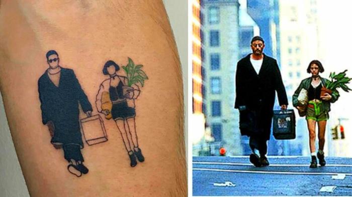 Tatouage minimaliste, tatouage avant bras, image de tatouage originale cinéaste, tatouage film léon