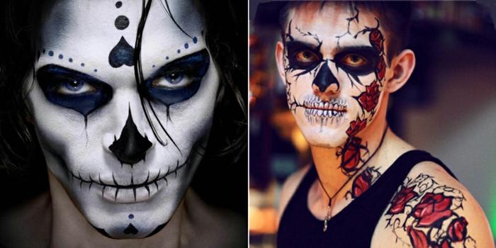 maquillage extravagant homme, tête de mort skullface, roses et coeurs dessinés sur les visages