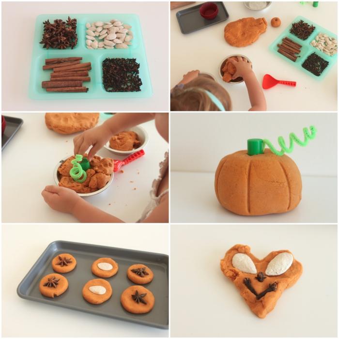une activité sensorielle sur le thème d'automne avec de la pate a modeler maison teintée orange, façonner une citrouille et des cookies en pâte à modeler