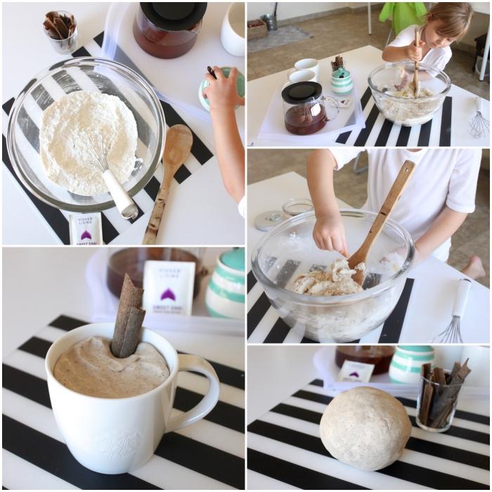 recette de pâte à modeler parfumé chai latté, préparée avec du thé chai, farine, sel et glycérine