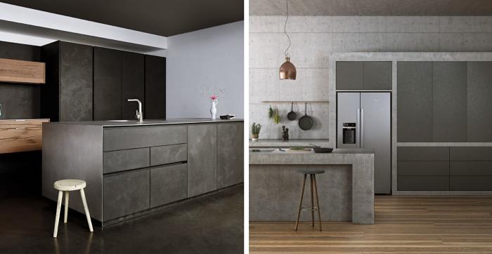 modèle de cuisine avec îlot central, design intérieur contemporain dans une cuisine industriel aux murs et îlot en béton ciré