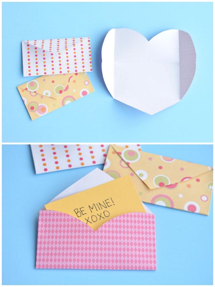 idée de cadeau saint-valentin de dernière minute, petit mot d'amour glissé dans une enveloppe diy, fabriquer enveloppe à partir d'une feuille en forme de coeur
