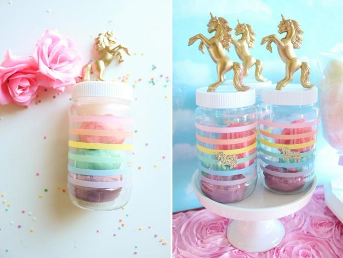 idée originale de cadeau invité, de la pâte à modeler licorne dans un pot à couvercle avec figurine licorne dorée