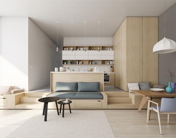petite cuisine avec ilot central, modèle de cuisine minimaliste en blanc et bois avec revêtement de sol en carrelage blanc