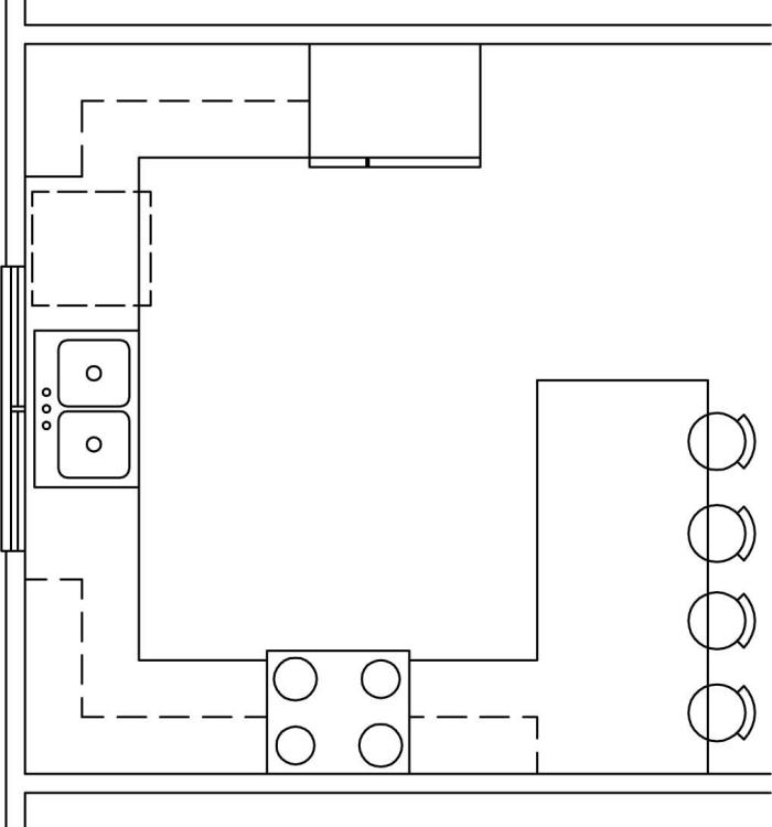 exemple comment transformer une cuisine en u avec péninsule, plan agencement de cuisine en forme de G