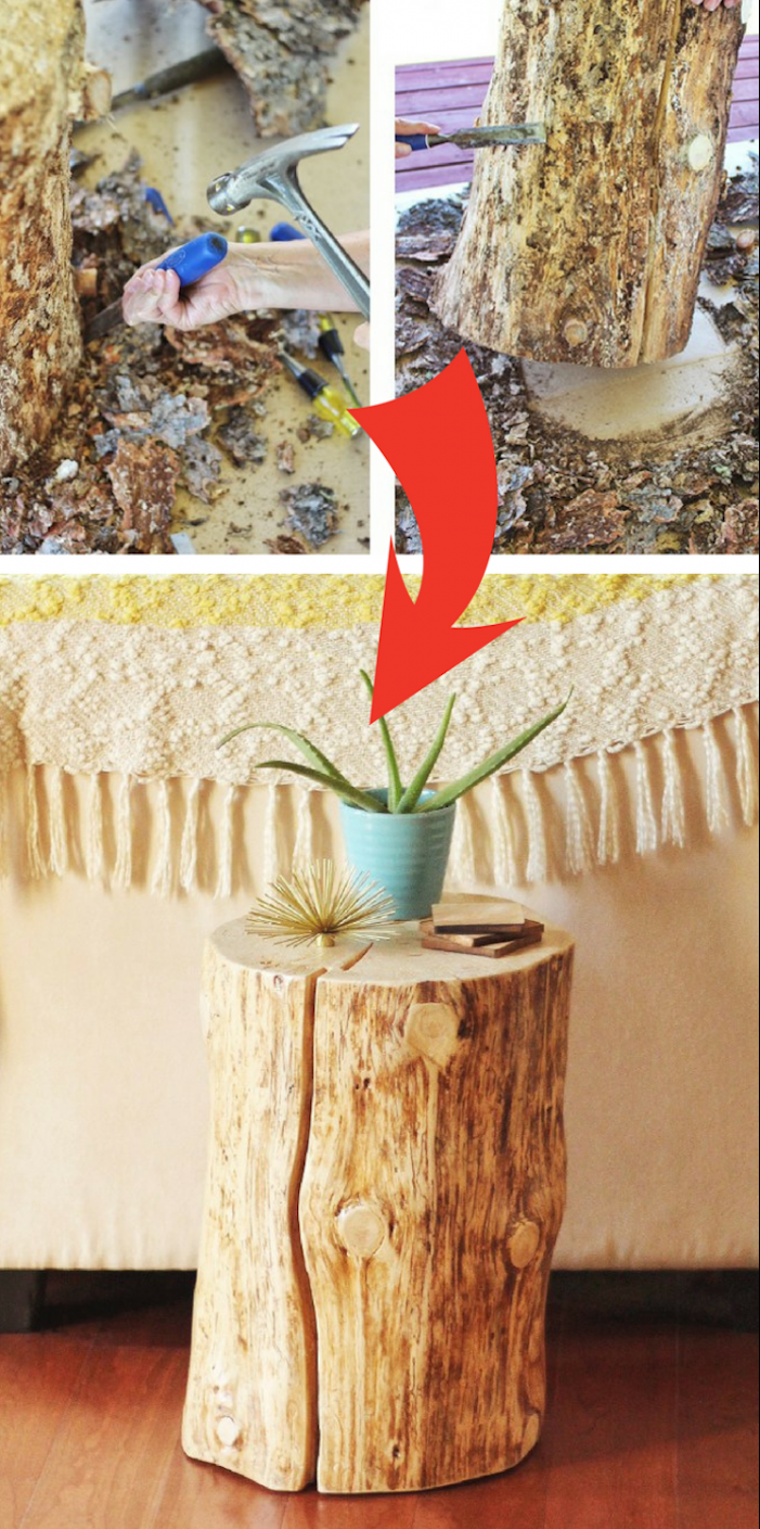 tuto pour faire une table basse rondin de bois, comment éliminer l écorce du rondin, ranger pot de fleur, fond tissu mural