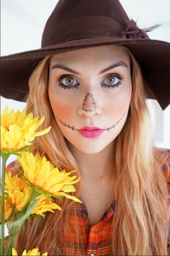 déguisement facile pour Halloween, idée déguisement de dernière minute avec maquillage facile, s'habiller comme épouvantail pour Halloween