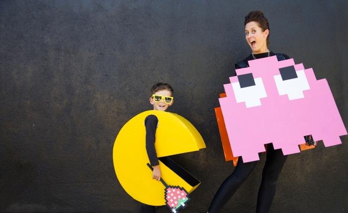 costumes Halloween DIY pour parent et enfant, déguisement pour enfant sur le thème Pac Man avec costume fait main en carton