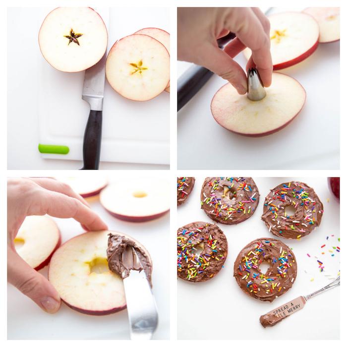 tranches de pomme rondelles enduites de nutella et des vermicelles sucrés gouter anniversaire enfant, apprendre enfant à manger fruits