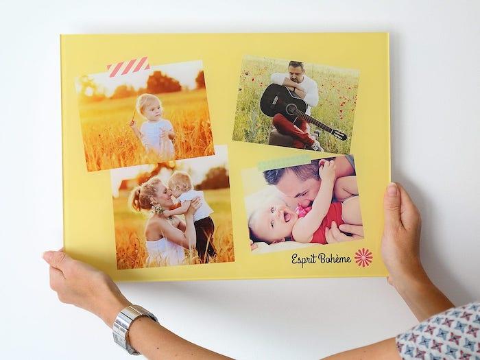 tableau pele mele photo plexiglas, photos de famille maman, papa, bébé, souvenirs de famille pour decorer un mur blanc
