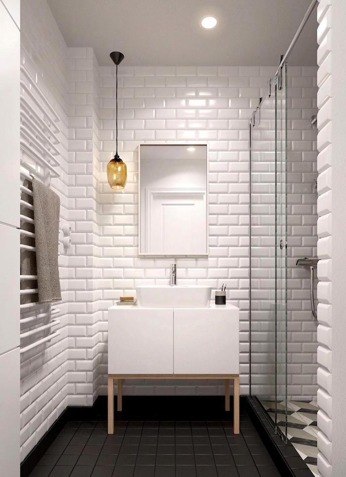 meuble salle de bain avec vasque design carré blanc dans sb avec carrelage mural blanc et sol gris avec douche carrelée effet 3d