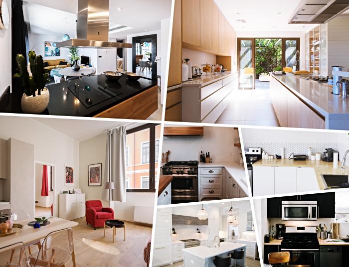 modèle aménagement cuisine ouverte avec îlot, déco cuisine en parallèle avec meubles en bois clair et plafond sol en blanc