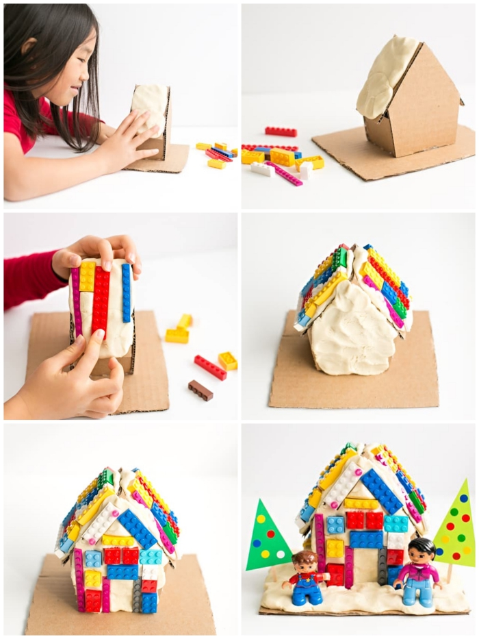 atelier créatif pour le week-end avec des jeux de pâte à modeler, décorer une petite maison en carton avec de la pâte à modeler et des briques de légo