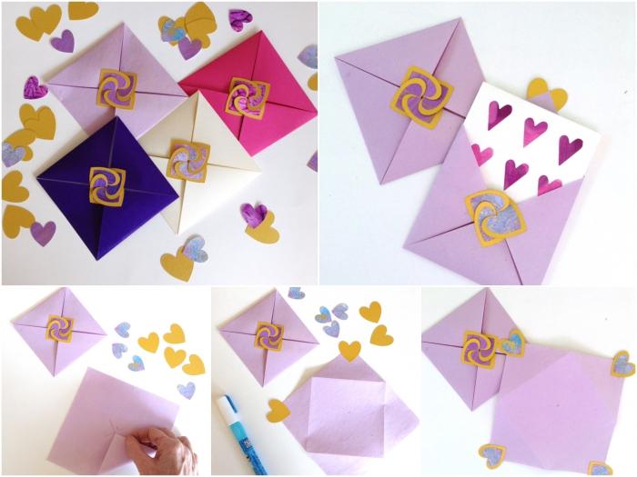 comment faire une enveloppe en papier facile et rapide, enveloppe diy format carré avec fermeture coeur originale