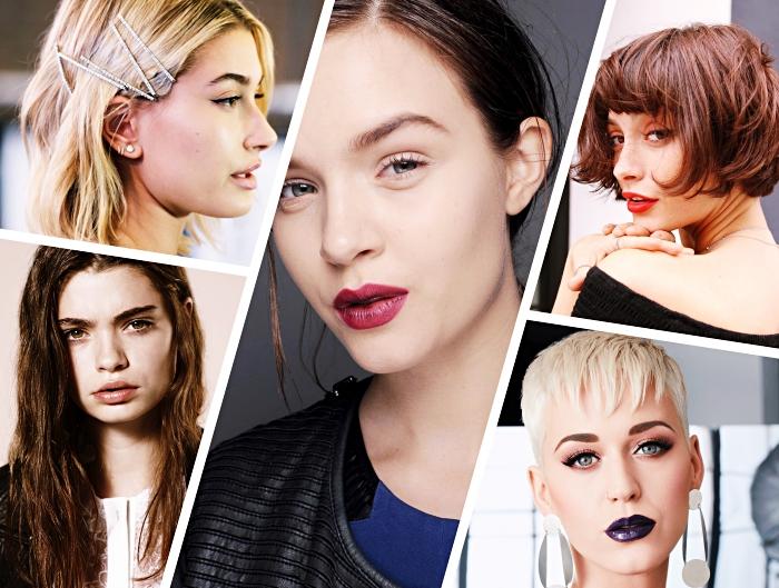 exemple de coupe carré long à effet wavy naturel, accessoire de coiffure moderne, coloration tendance nuances rouges
