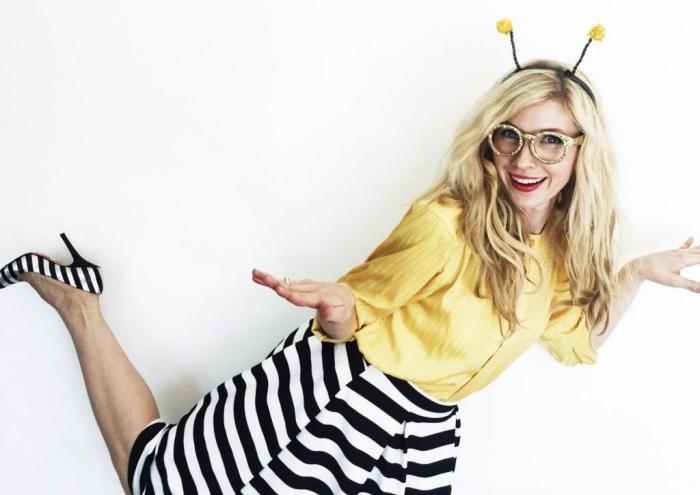 déguisement dernière minute pour femme, costume Halloween à design abeille avec diadème DIY, deguisement a faire soi meme facile