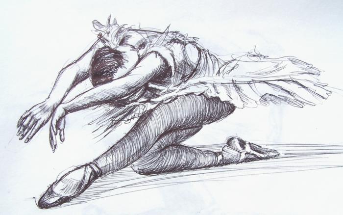 Comment faire un dessin fusain, dessin au fusain, cool idée quoi dessiner, ballerine avec tout ses details