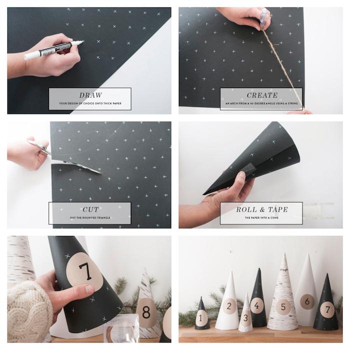 moele de calendrier de l avent original scandinave en cônes de papier avec chiffres autocollants avec des surprises dessous