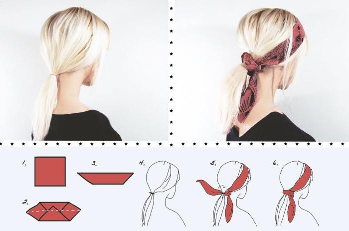 modèle de foulard tete rouge à motifs noirs, exemple de coiffure aux cheveux attachés avec accessoire foulard tendance moderne