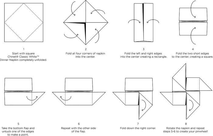 schéma pour réaliser un pliage facile papier, exemple origami facile pour Noel, pliage serviette papier en forme géométrique