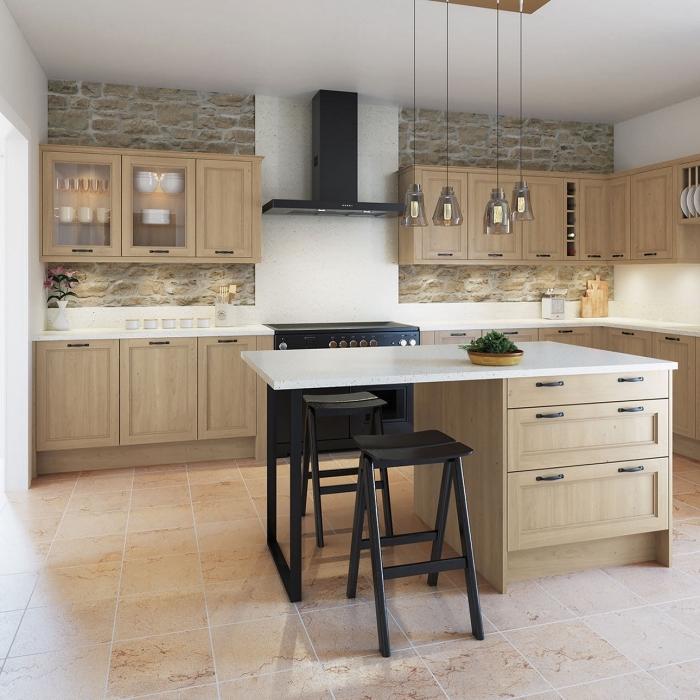modèle de cuisine contemporaine avec meubles de bois clair, idée papier peint pour cuisine tendance à effet pierre