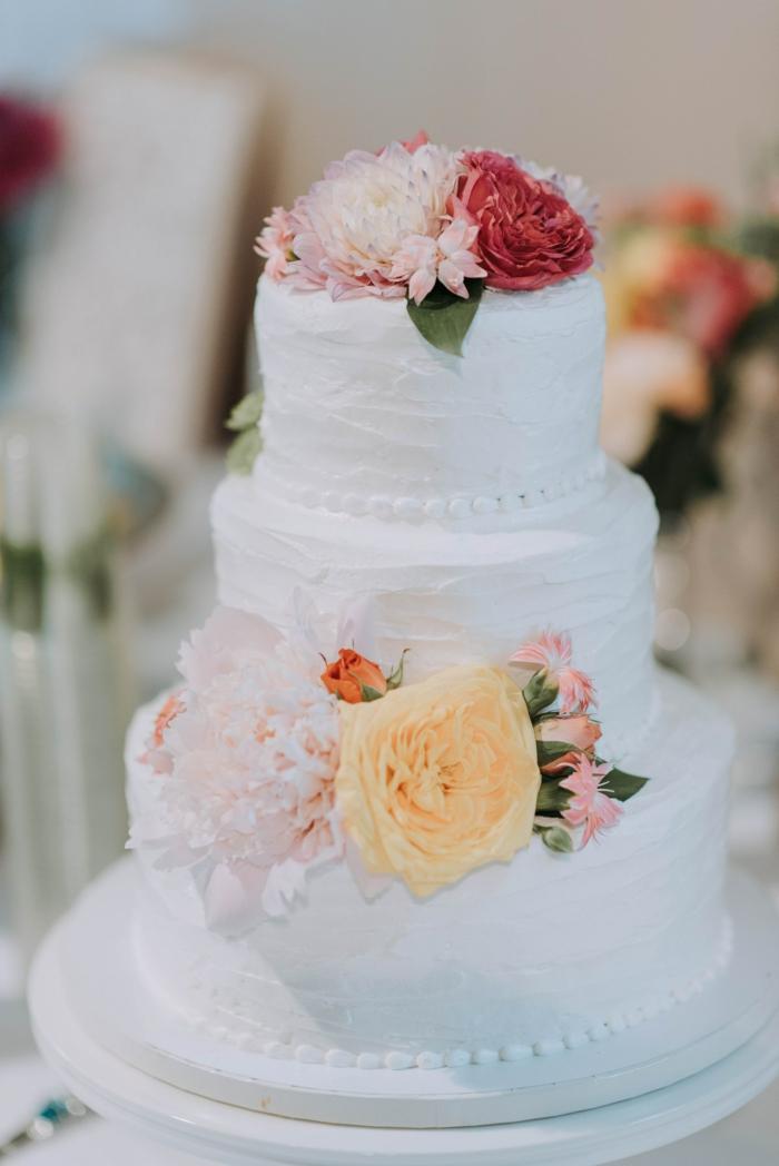 Gateau anniversaire adulte original le plus beau gâteau du monde, simple decoration de gateau blanche fleurs decoratives